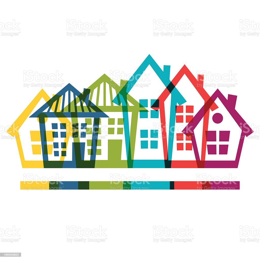 Town background design with cottages and houses vector art illustration