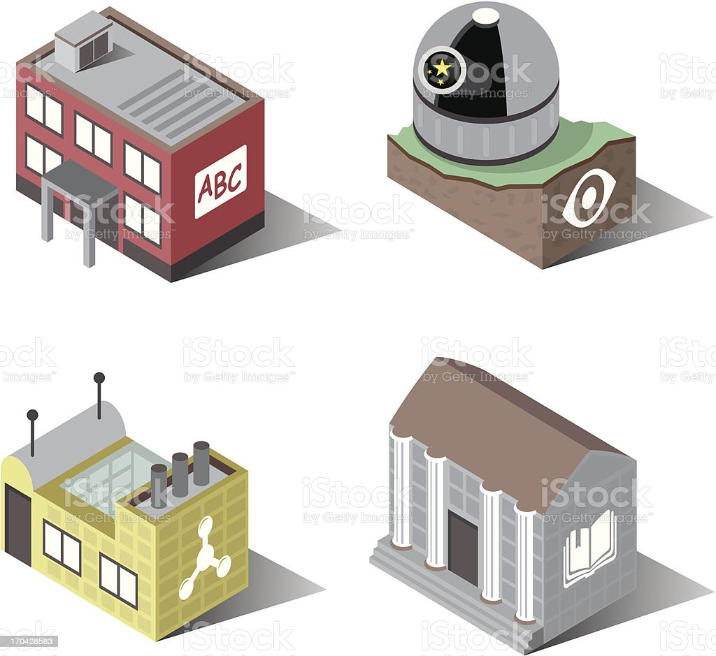Town Buildings | Education vector art illustration