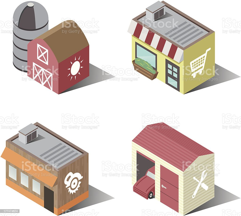 Town Buildings | Food and Service vector art illustration