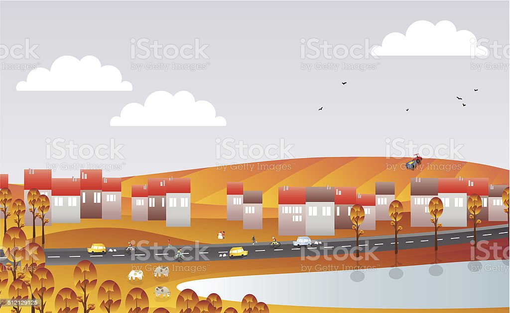 town by lake and street in the autumn vector art illustration