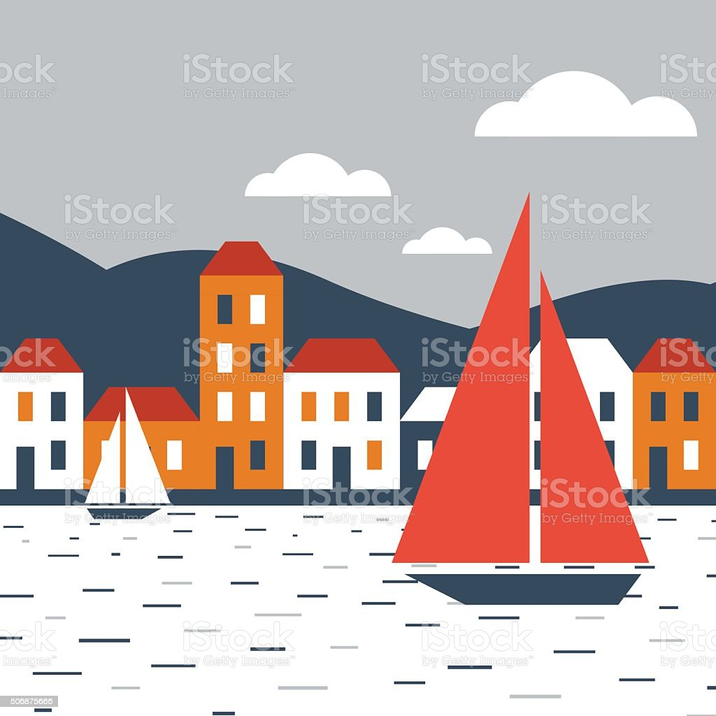 Town by the sea vector art illustration
