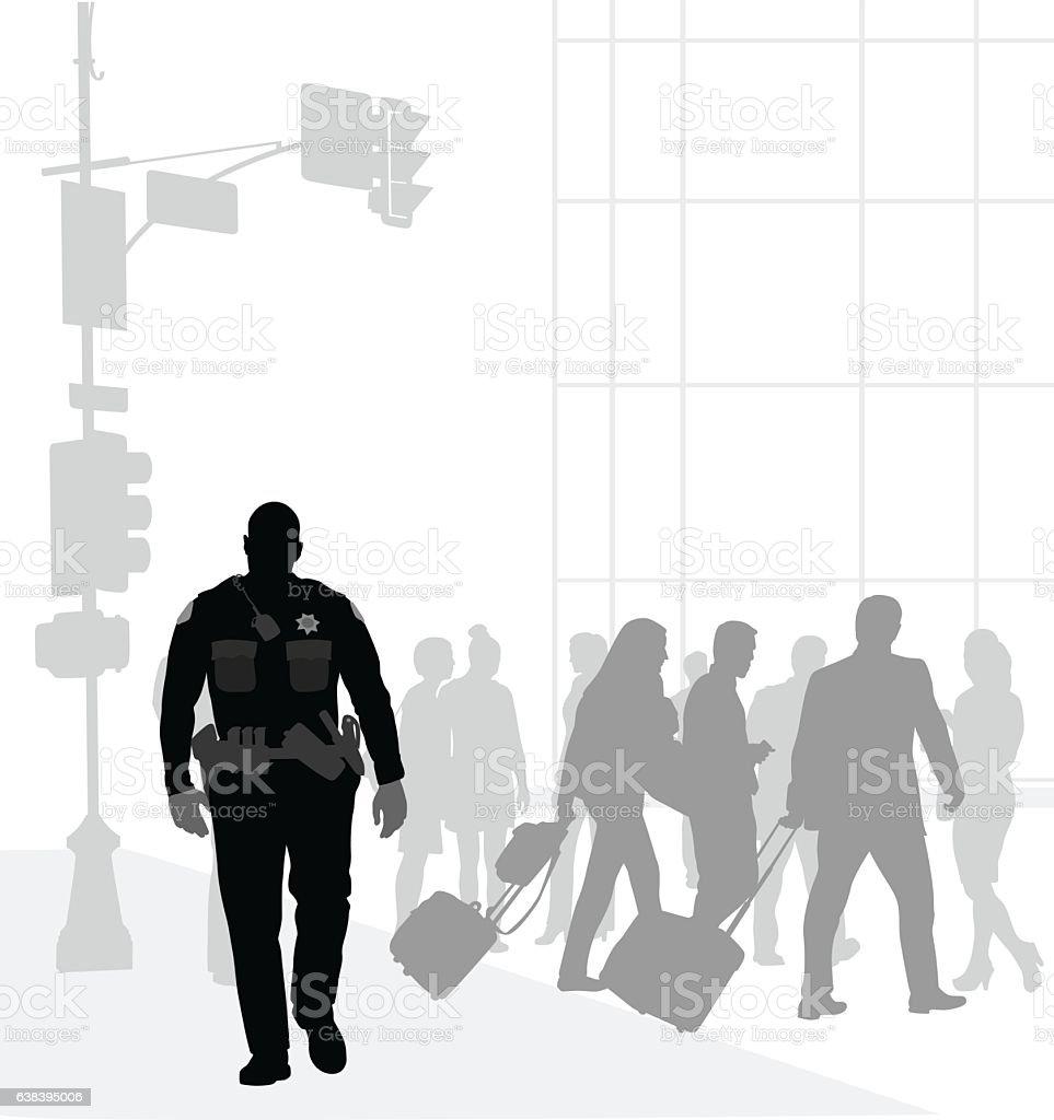 Town Cop Patrol vector art illustration