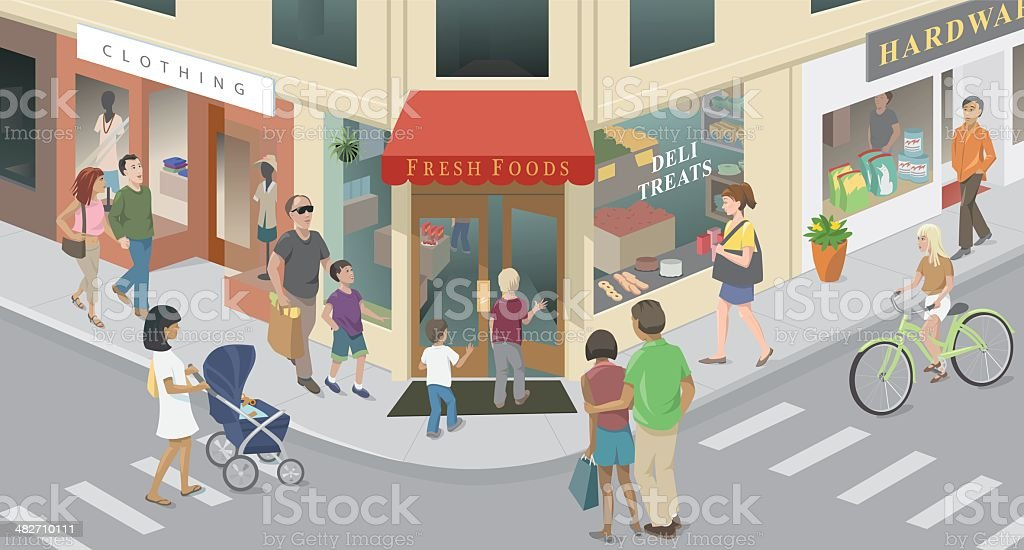 Town Corner vector art illustration