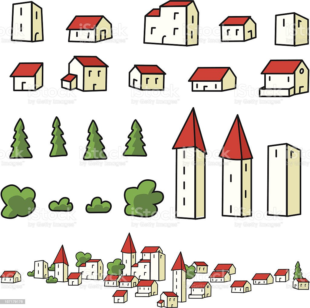 town elements royalty-free stock vector art