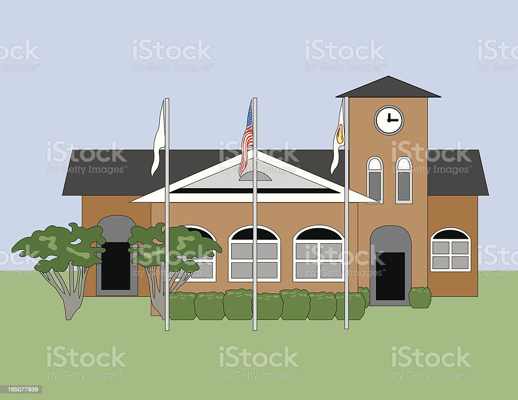 Town Hall vector art illustration