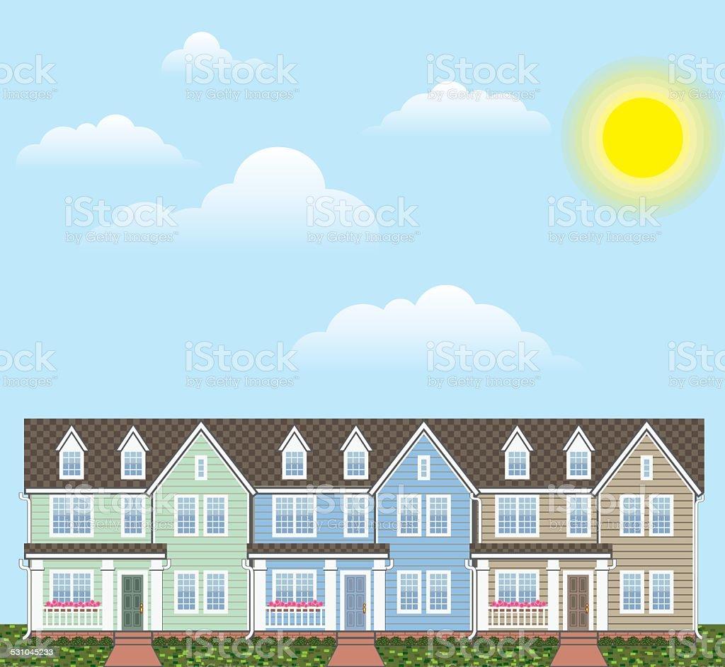 Town homes row sunny side vector art illustration