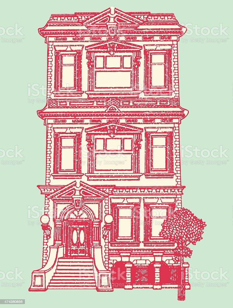 Town House vector art illustration