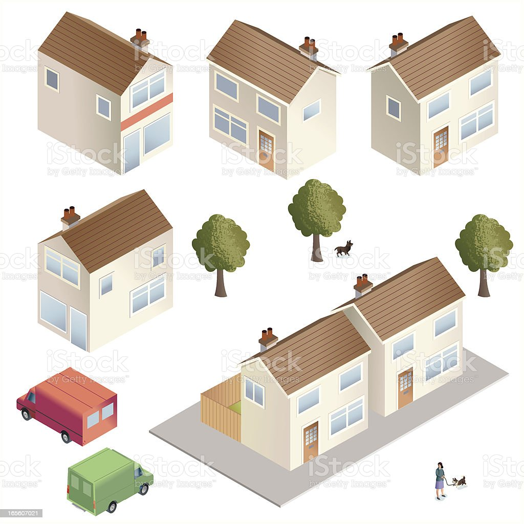 Town Houses vector art illustration
