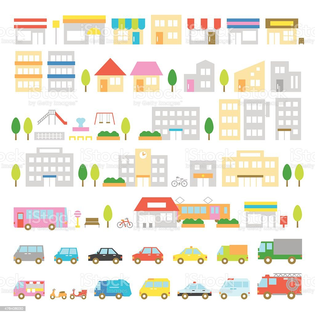 Town icon stores houses vehicles vector art illustration