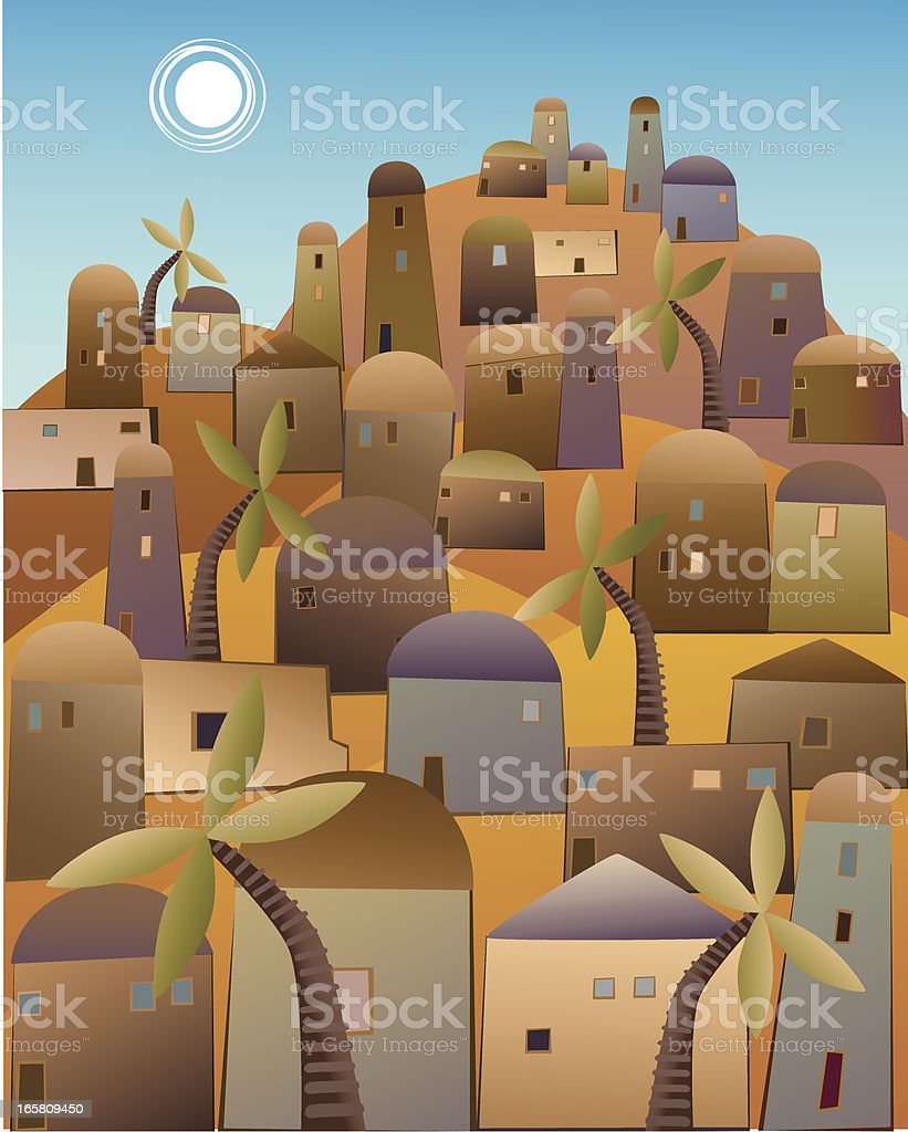 Town in the Middle East vector art illustration