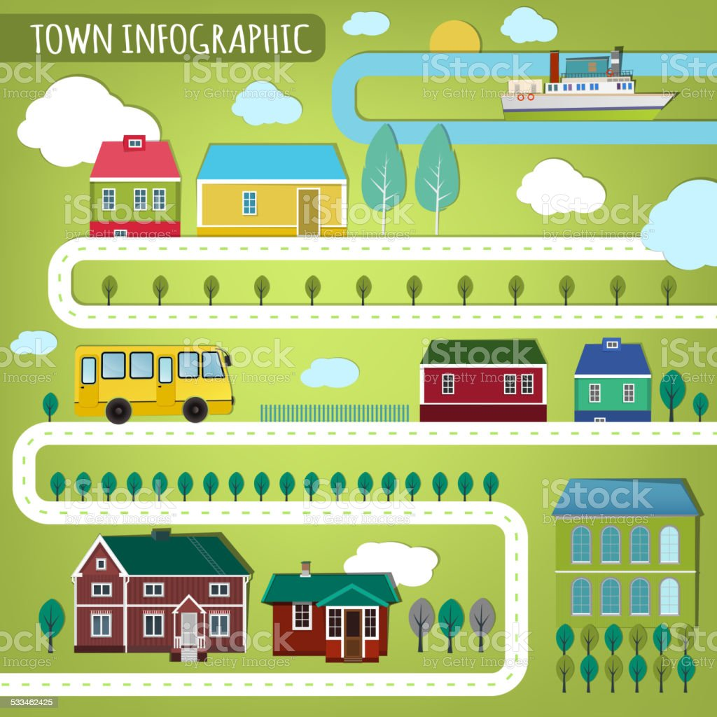 town infographics vector art illustration