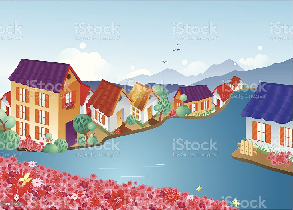 Town on a river royalty-free stock vector art