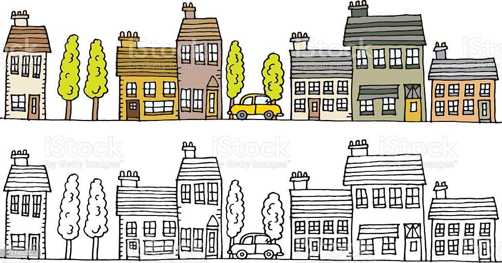 Town scene vector art illustration