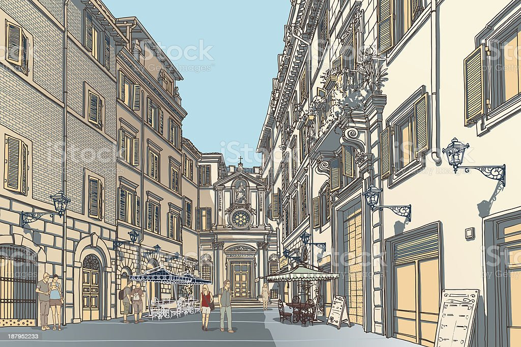 Town Square Sketch royalty-free stock vector art