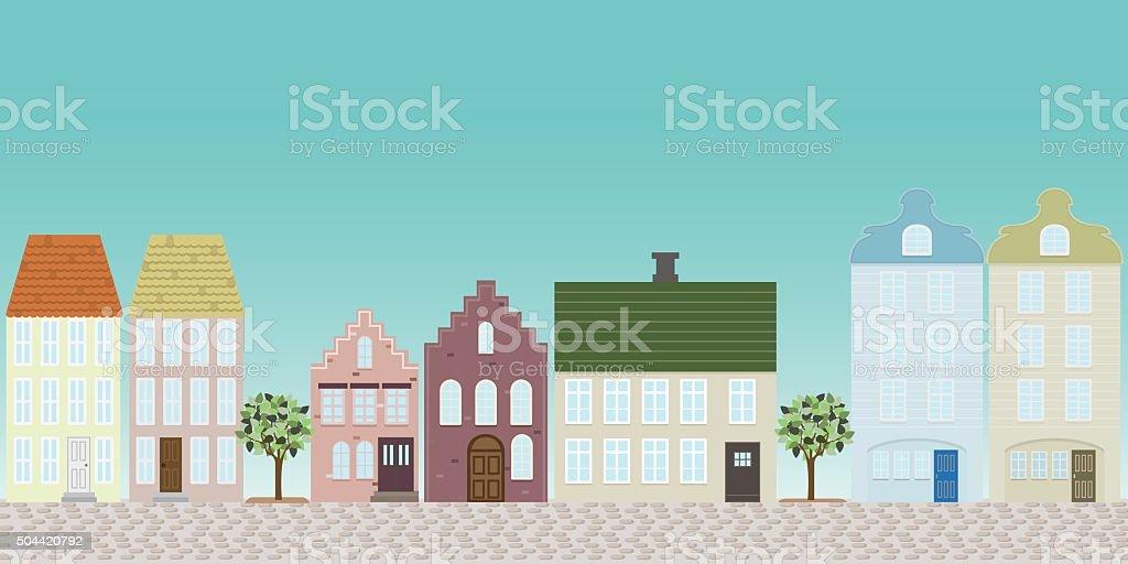 town street vector art illustration