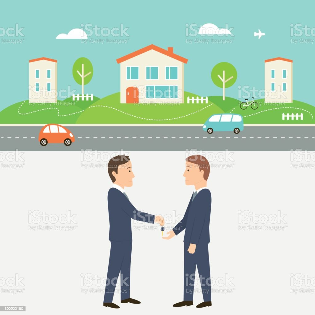 Town Street with Houses, Cars and Road. Real Estate Agent Giving a Key. Shared Economy and Collaborative Consumption Illustration. vector art illustration