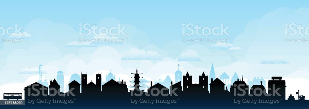 Town (Buildings Are Detailed, Moveable and Complete) royalty-free stock vector art