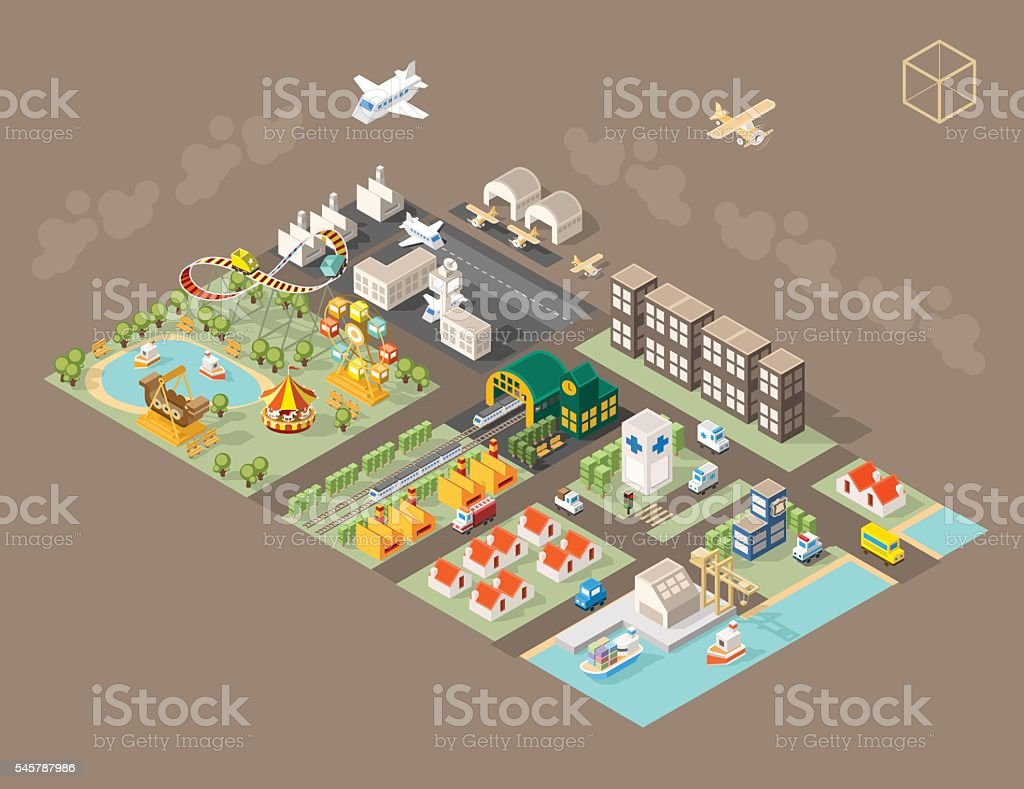 Town with Shadows on Dark Background. vector art illustration