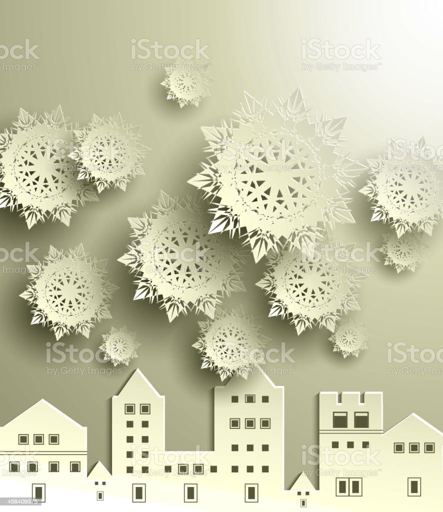 Town with snowflake royalty-free stock vector art