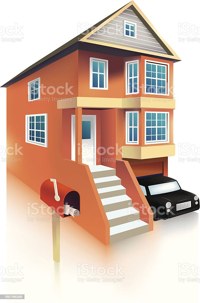 townhouse vector art illustration
