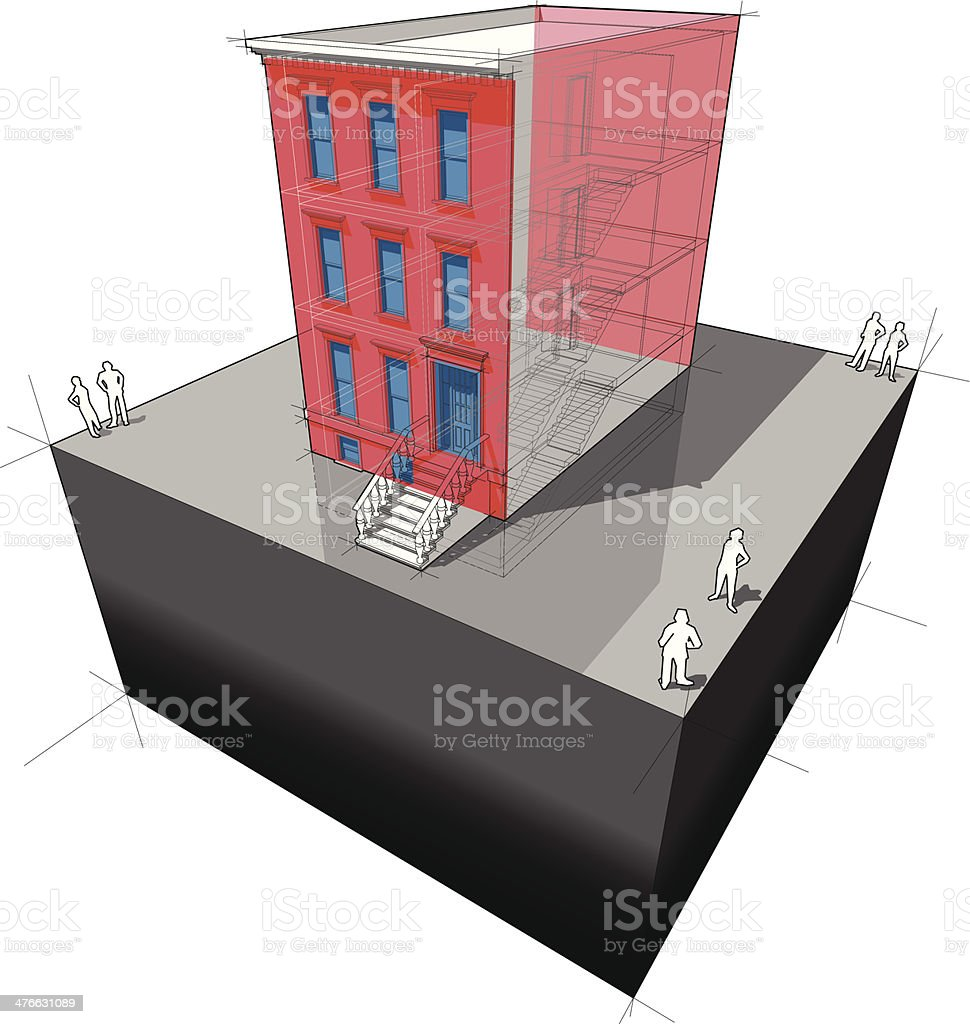 Townhouse with additional wall insulation + new windows royalty-free stock vector art