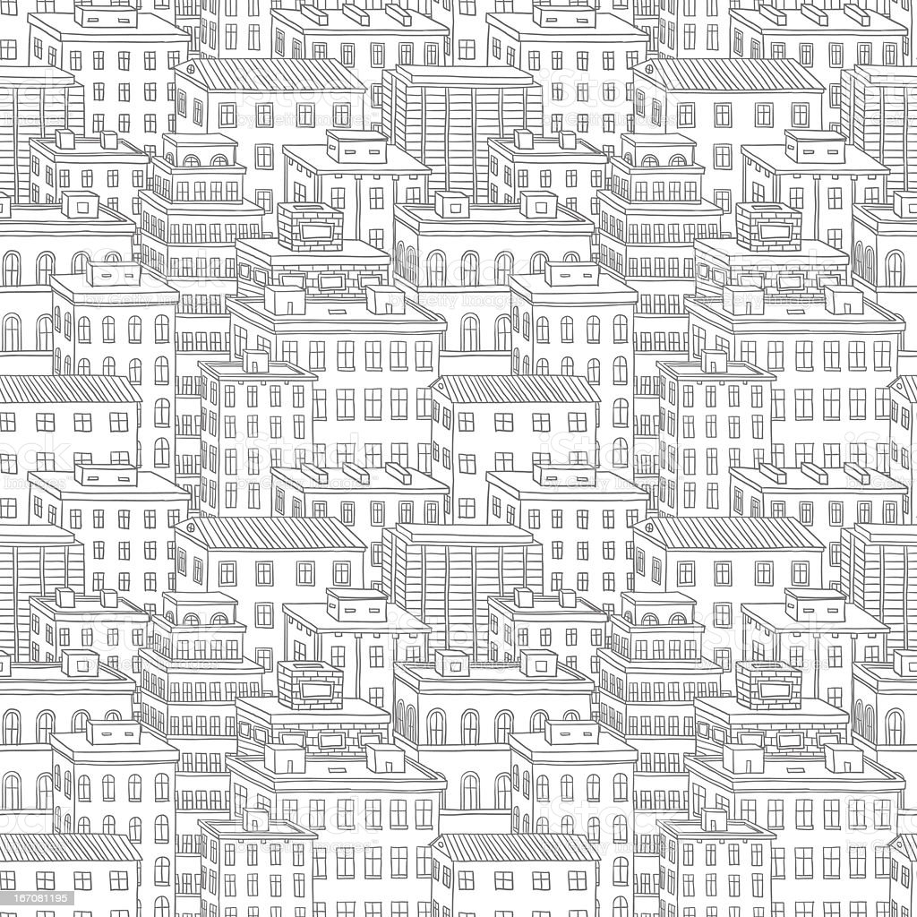 Townhouses day seamless pattern royalty-free stock vector art
