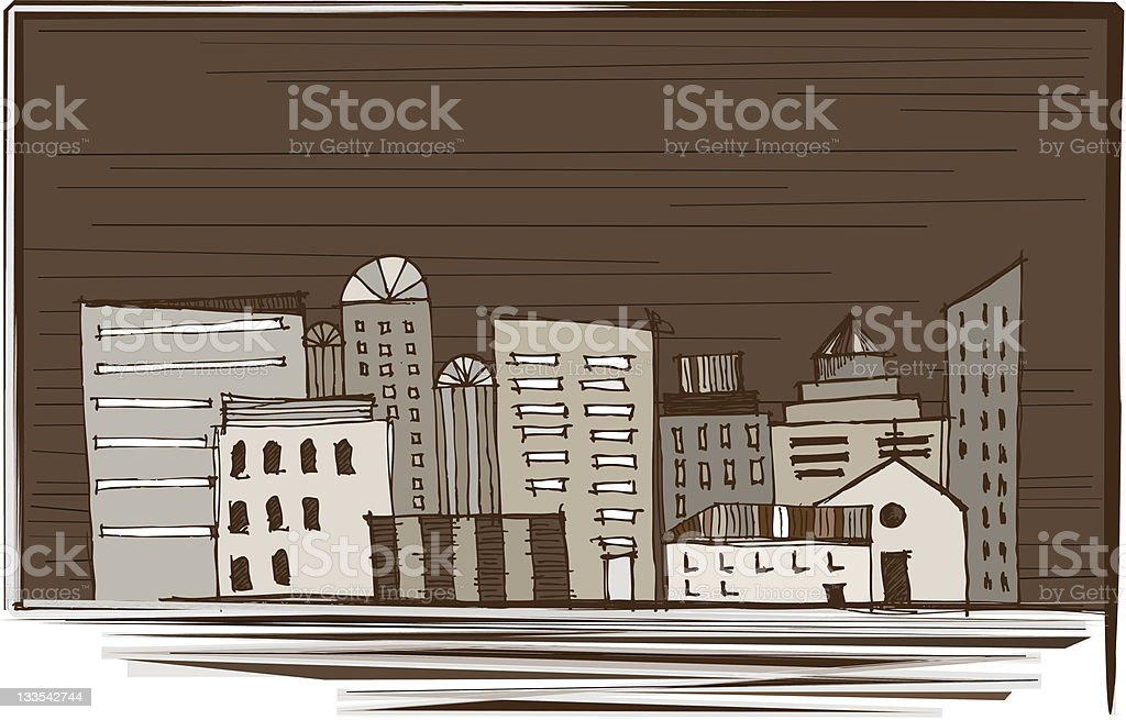 Townhouses: Houses, Buildings and Skyscrapers of the Modern City royalty-free stock vector art