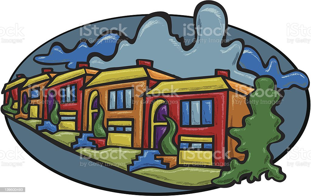 Townhouses in a Row royalty-free stock vector art