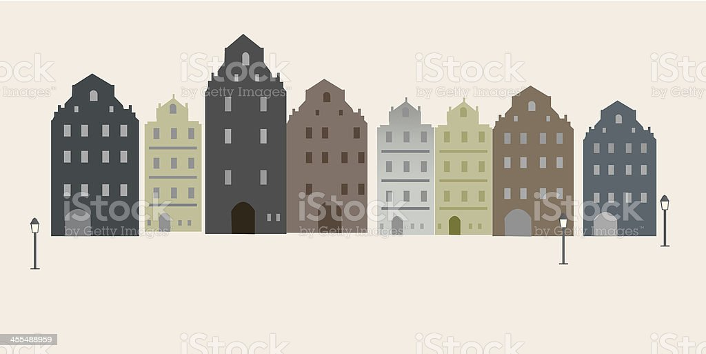 townhouses in warm colors vector art illustration