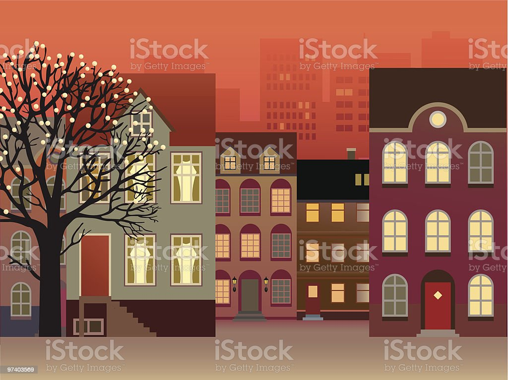 Townhouses on Street and Tree Decorated with Lights royalty-free stock vector art