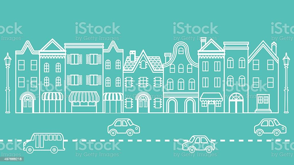 Townscape - driving cars in the Street vector art illustration