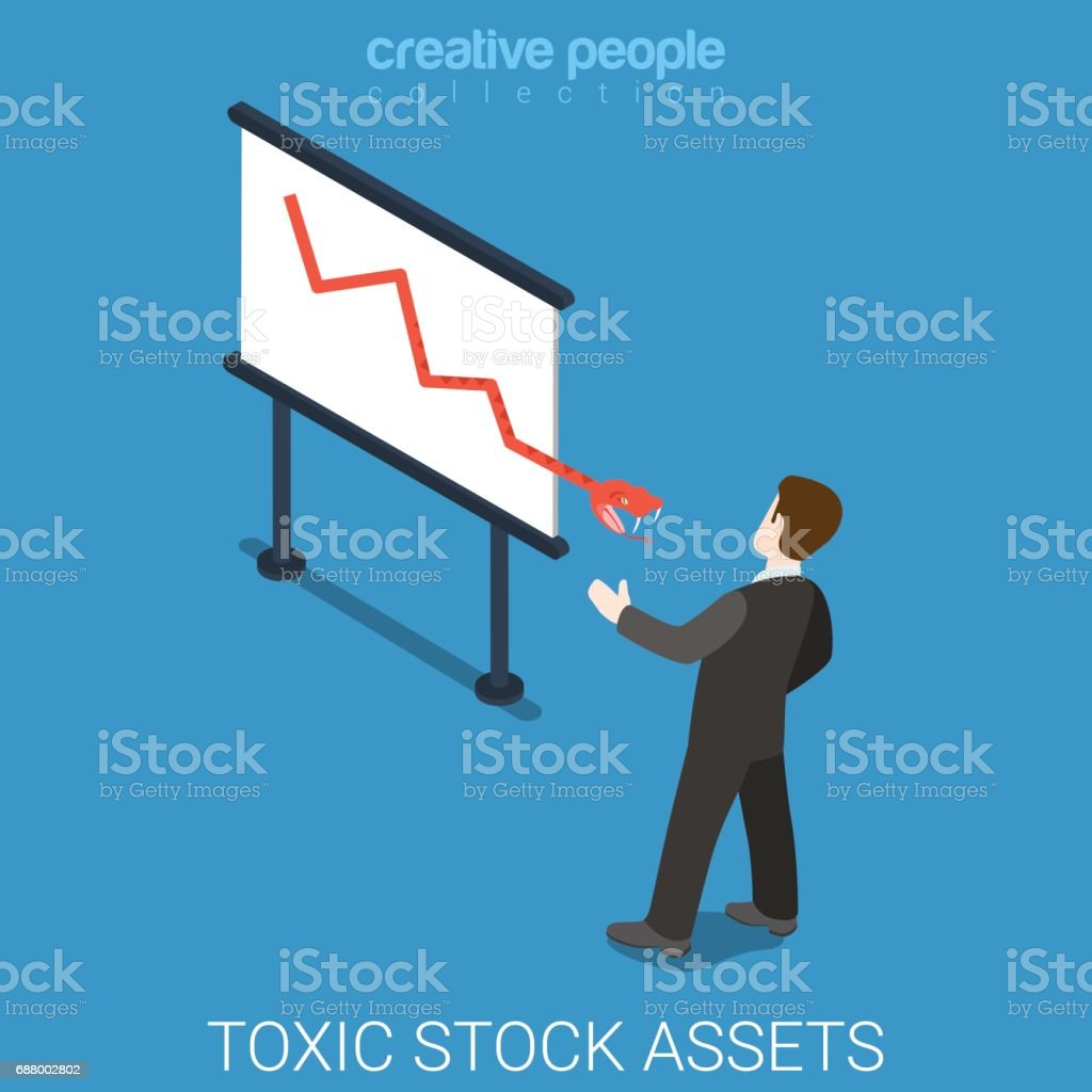 Toxic stock market assets flat 3d isometry isometric exchange concept web vector illustration. Businessman and snake coming from graphic white board. Creative people collection. vector art illustration