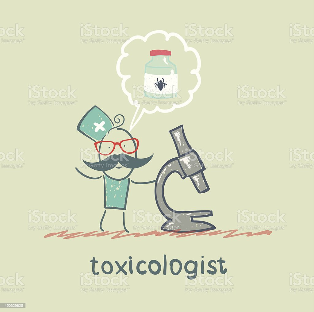 Toxicologist looking through a microscope royalty-free stock vector art