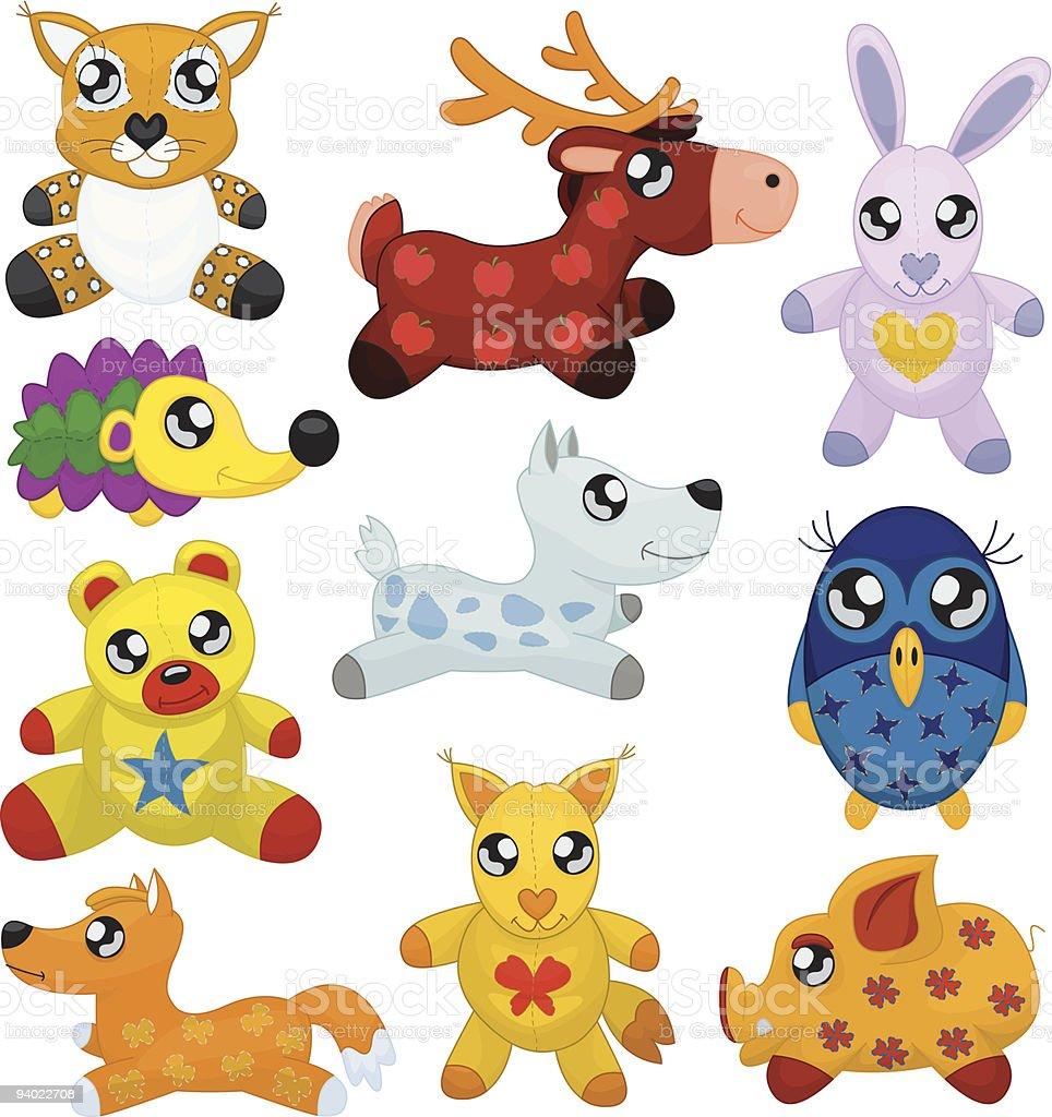Toy animals vector art illustration
