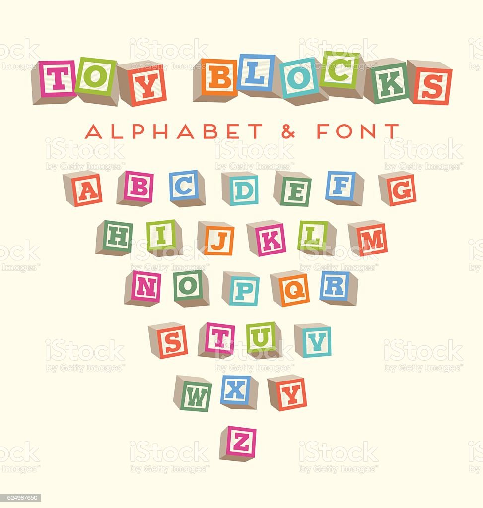 Toy baby blocks font alphabet in bright colors vector art illustration