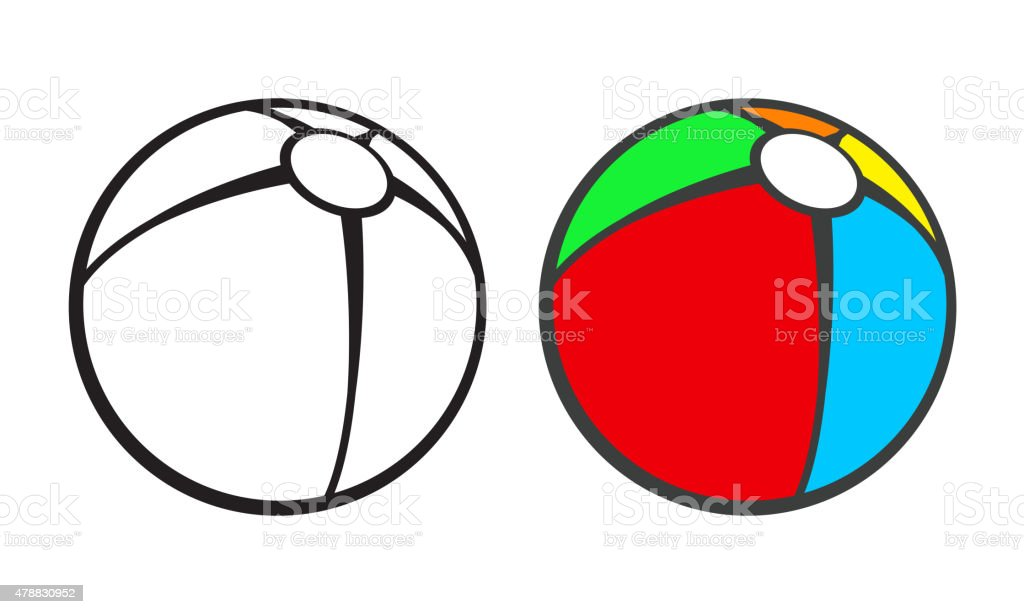 Toy beach ball  for coloring book isolated on white vector art illustration
