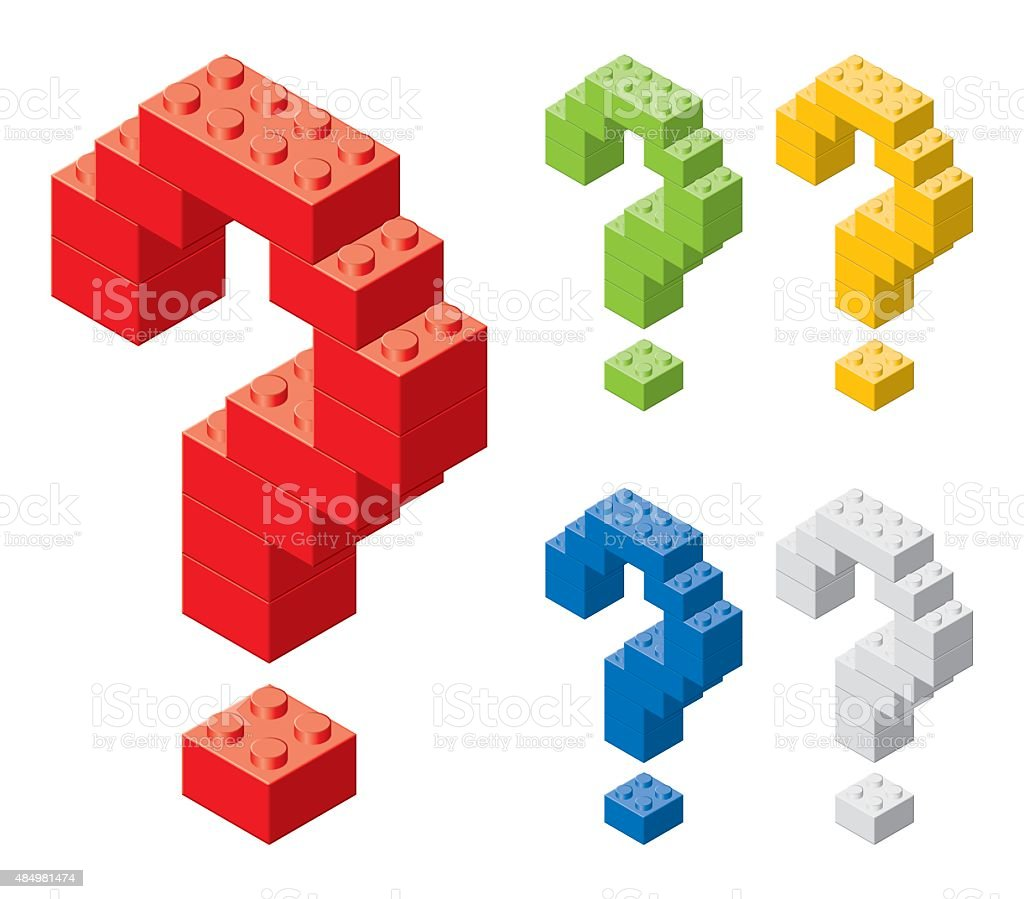 Toy brick question marks. vector art illustration
