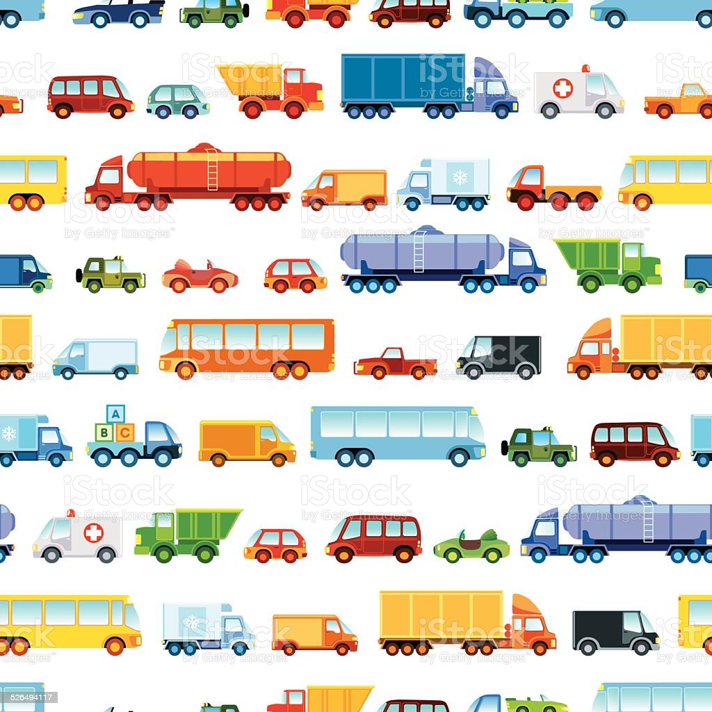 Toy car pattern vector art illustration
