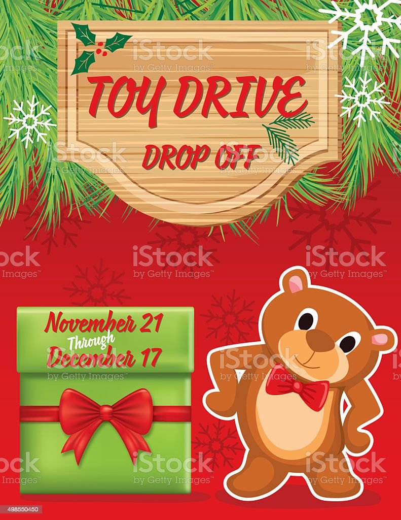 Toy Drive or Christmas Charity Poster Template vector art illustration