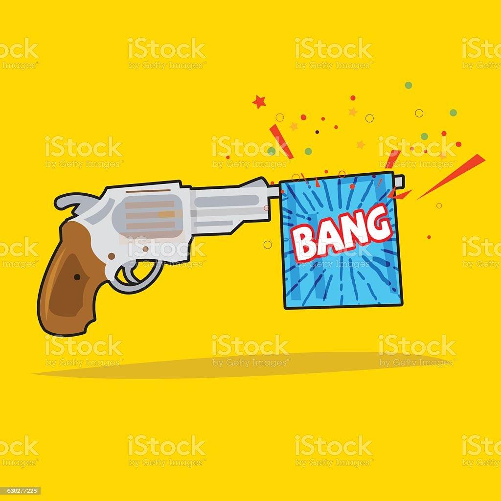 toy gun with bang flag vector art illustration