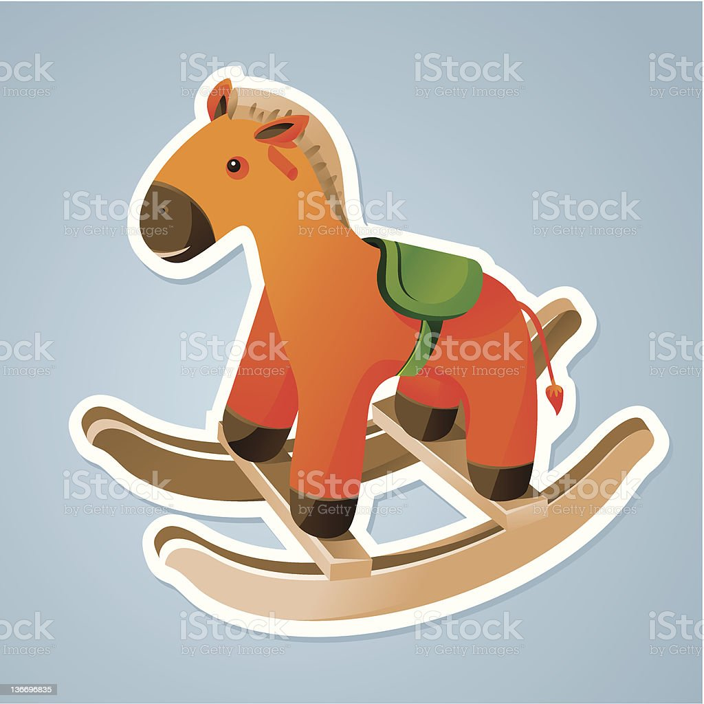 toy horse sticker vector art illustration
