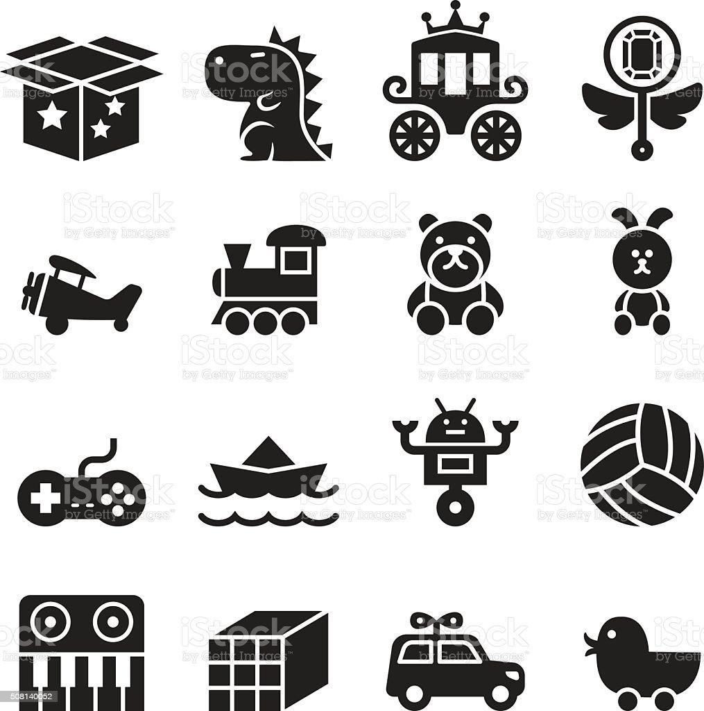 Toy icon set vector art illustration