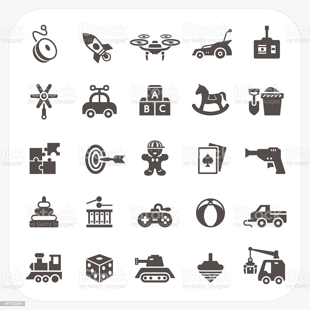 Toy icons set vector art illustration
