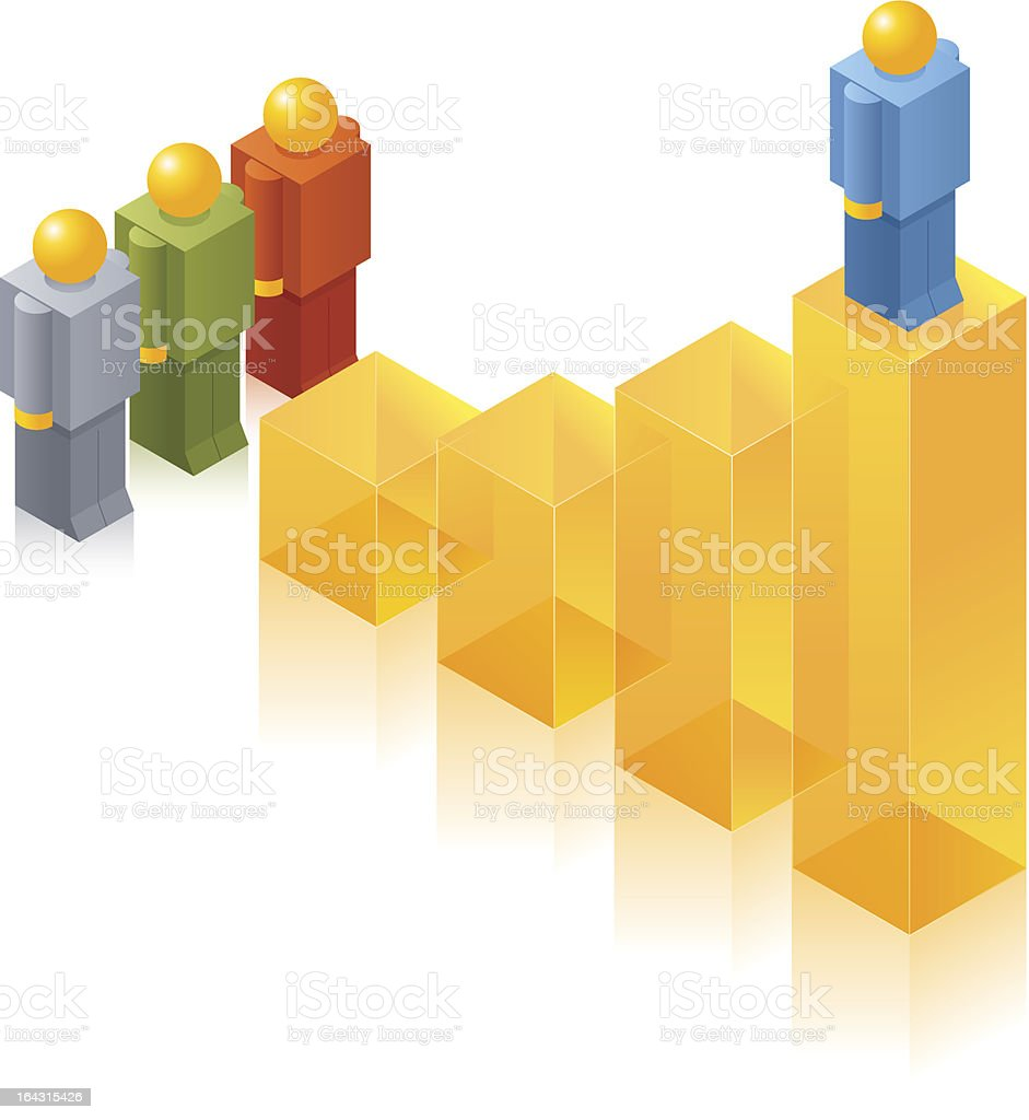 Toy People ISO: On the top position vector art illustration