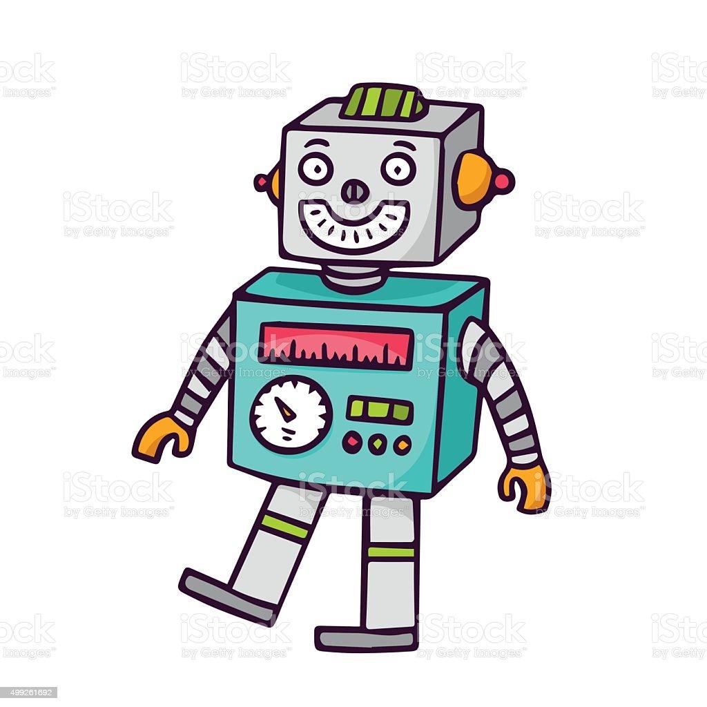 Toy robot, isolated on white vector art illustration
