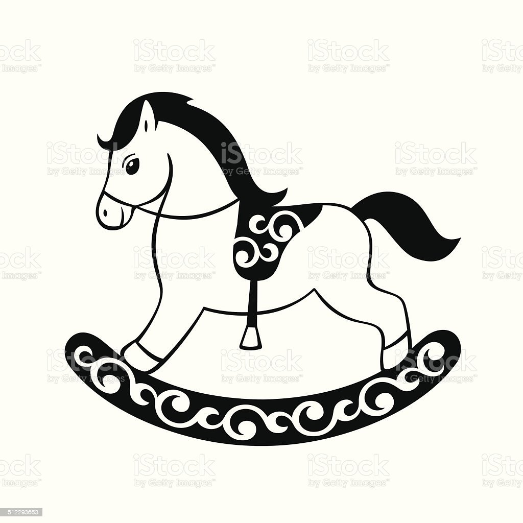 Toy rocking horse vector art illustration