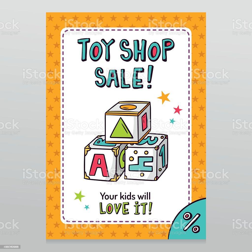 tienda de juguetes de diseo de folleto de vector de venta con bloques de juguete