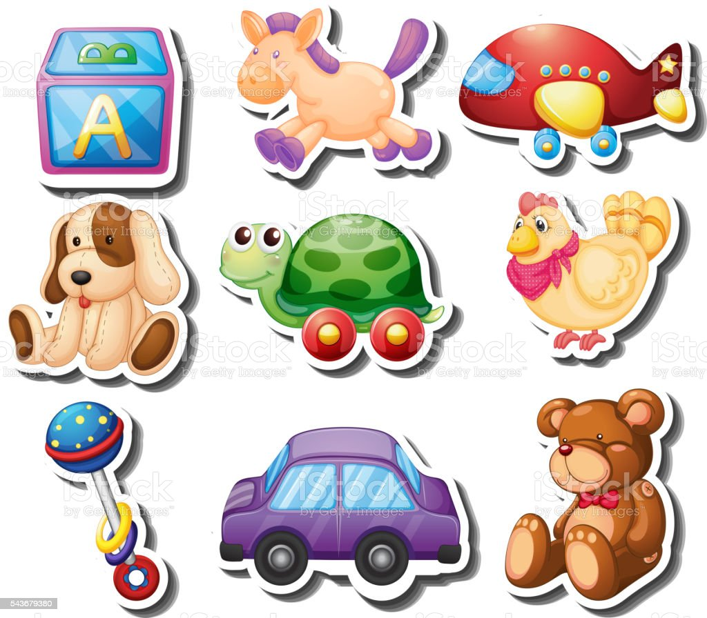 Toy stickers on white background vector art illustration