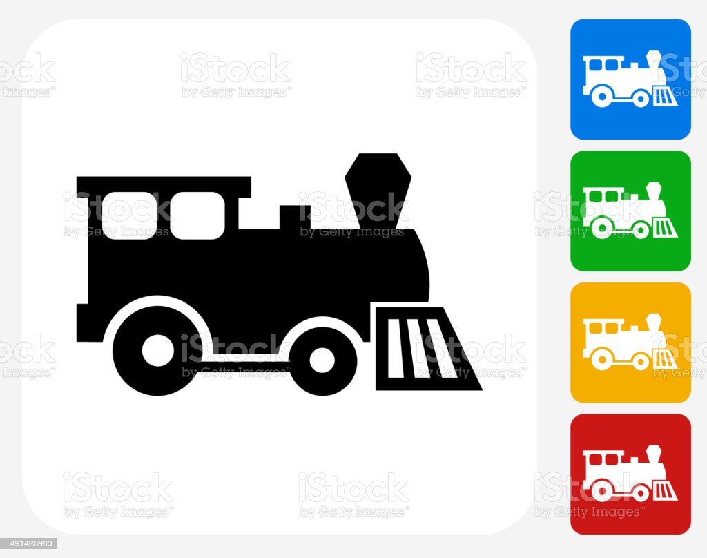 Toy Train Icon Flat Graphic Design vector art illustration