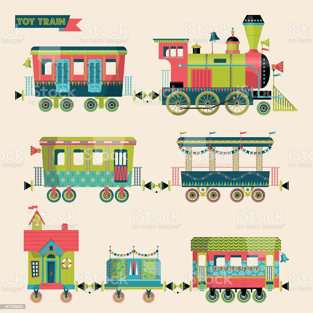 Toy train. Locomotive with several multi-colored coaches. vector art illustration